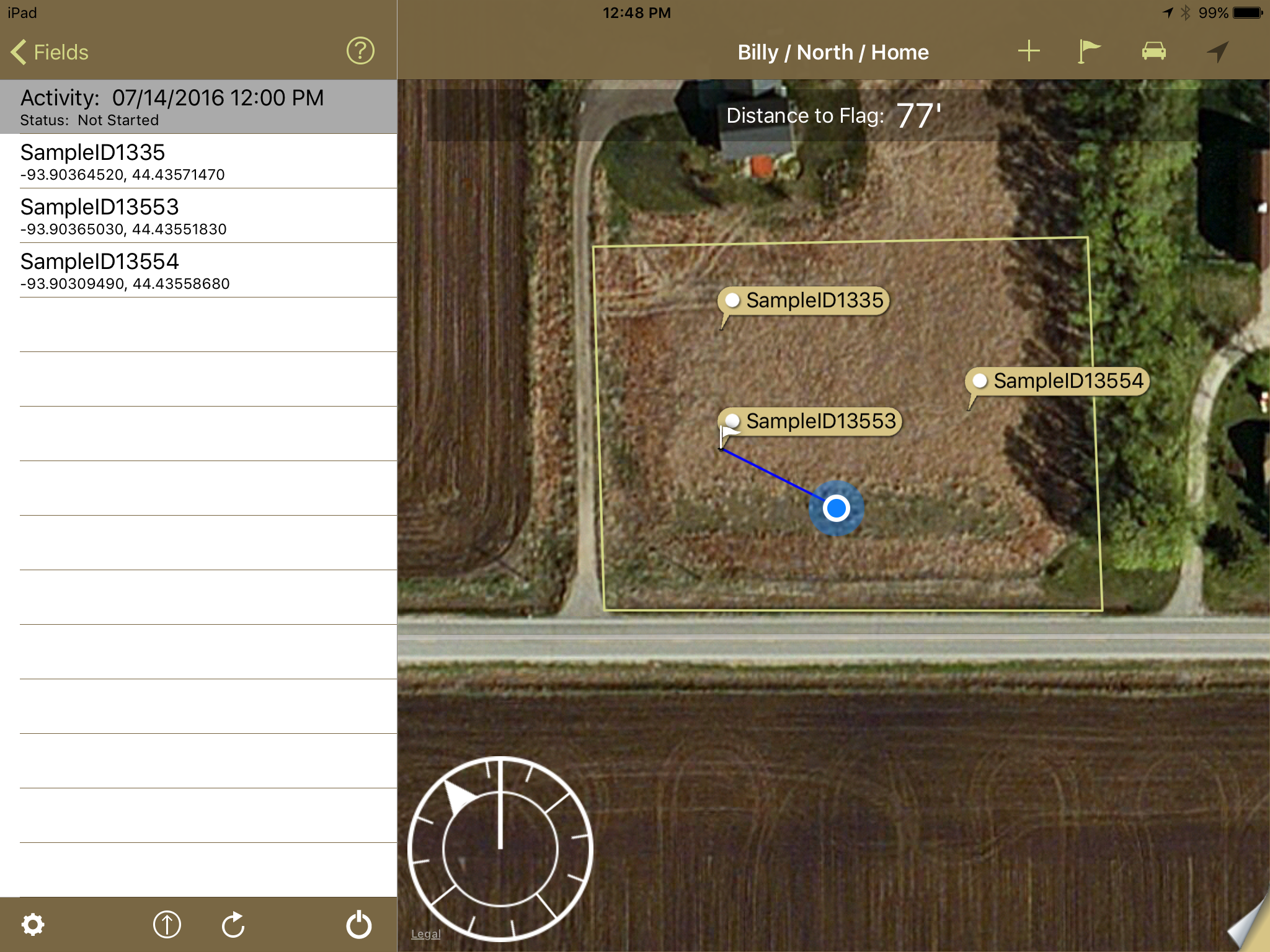 Sampling app navigation dial on iPad
