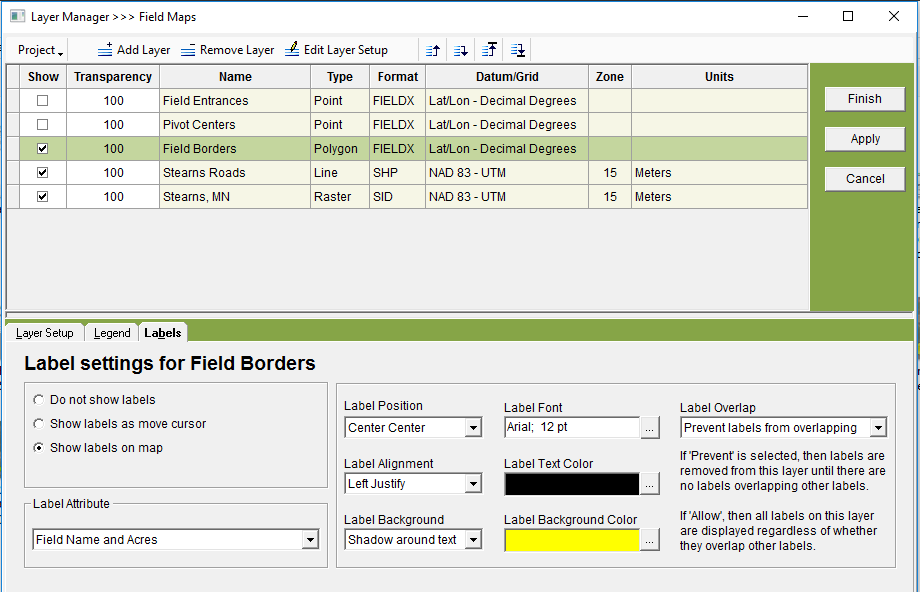 Select Field Borders in Layer Manager, then edit Labels.