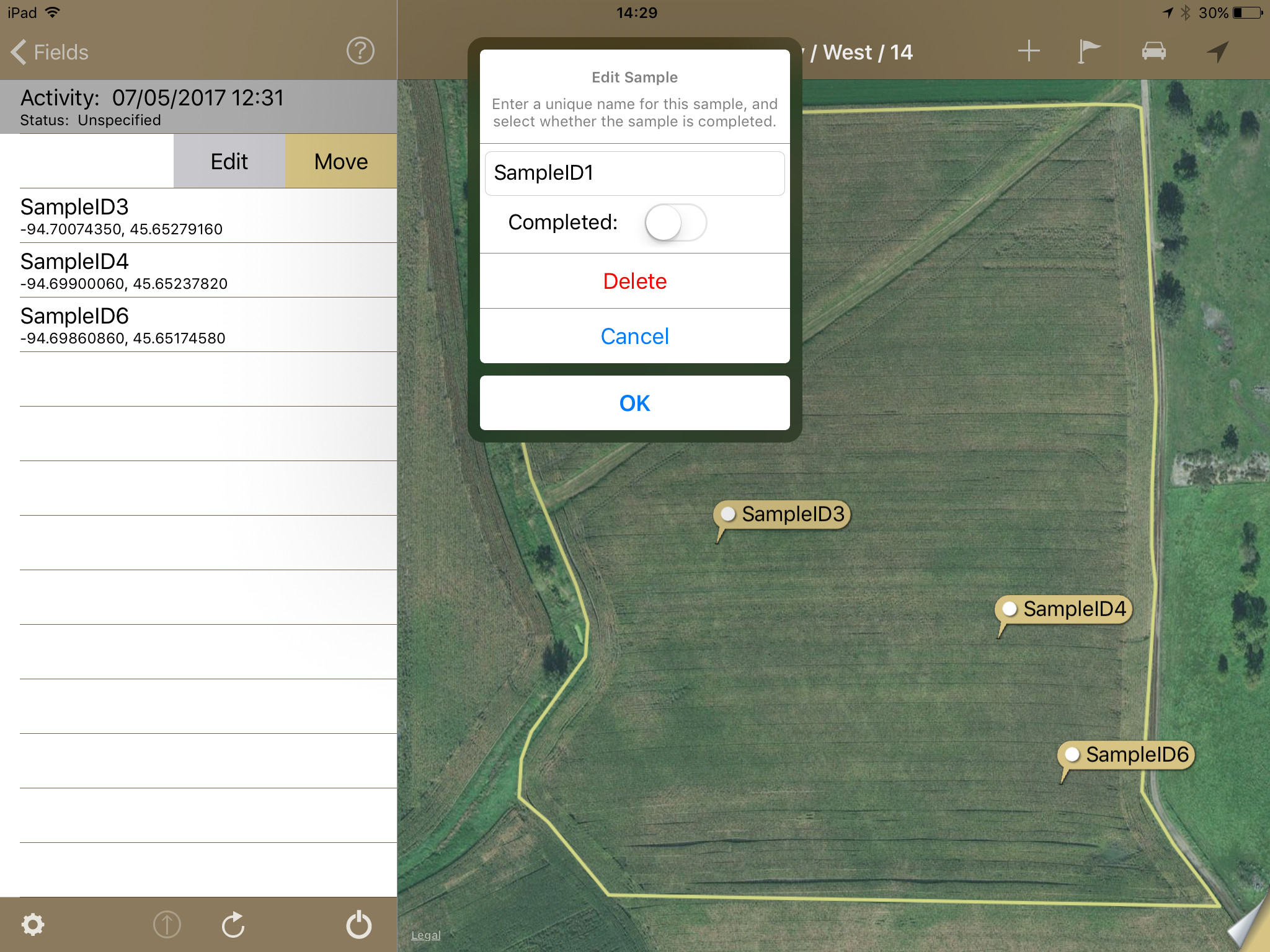 Edit Points in FieldX Sampling on iPad