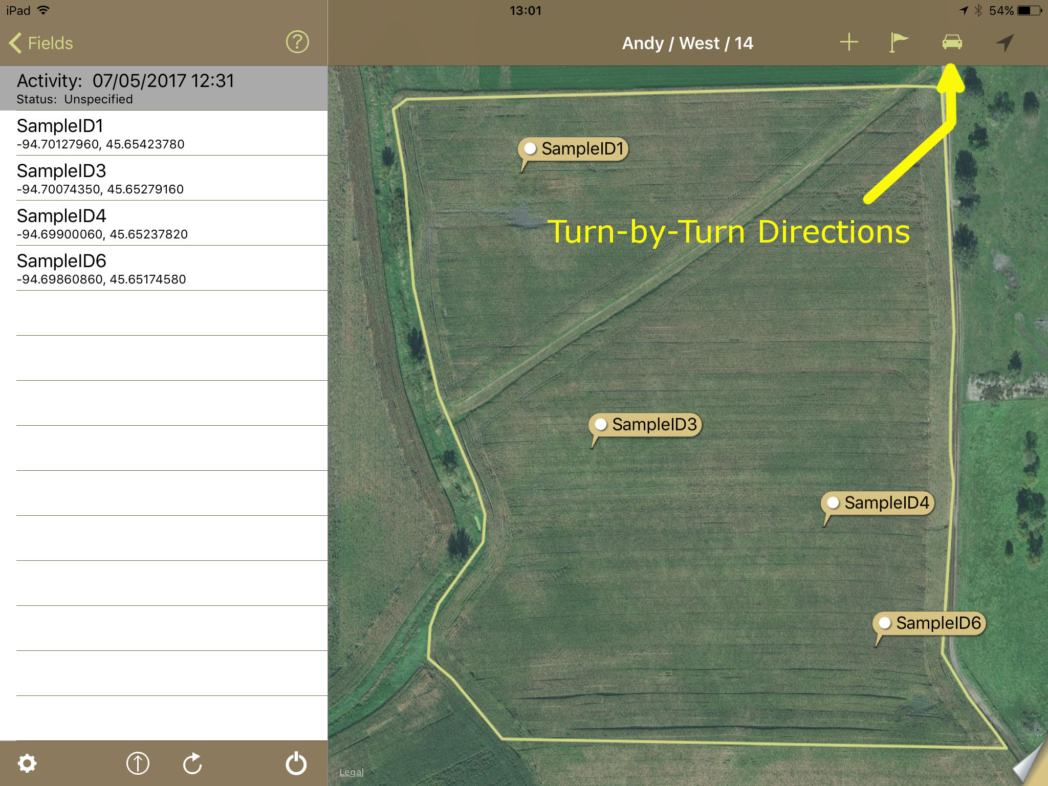 Turn by Turn Directions in iPad Sampling App