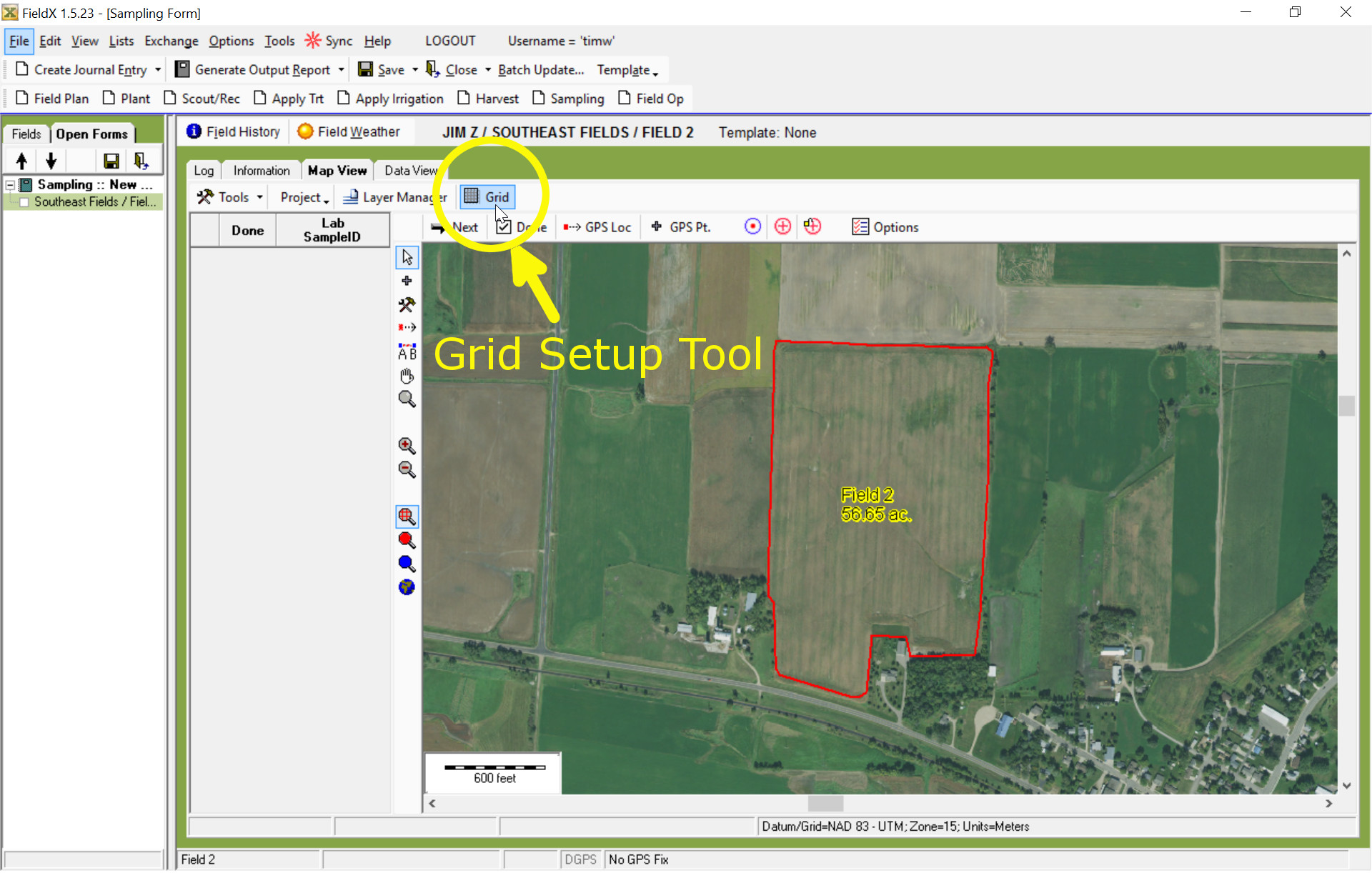Selecting Grid Tool in Sampling Entry