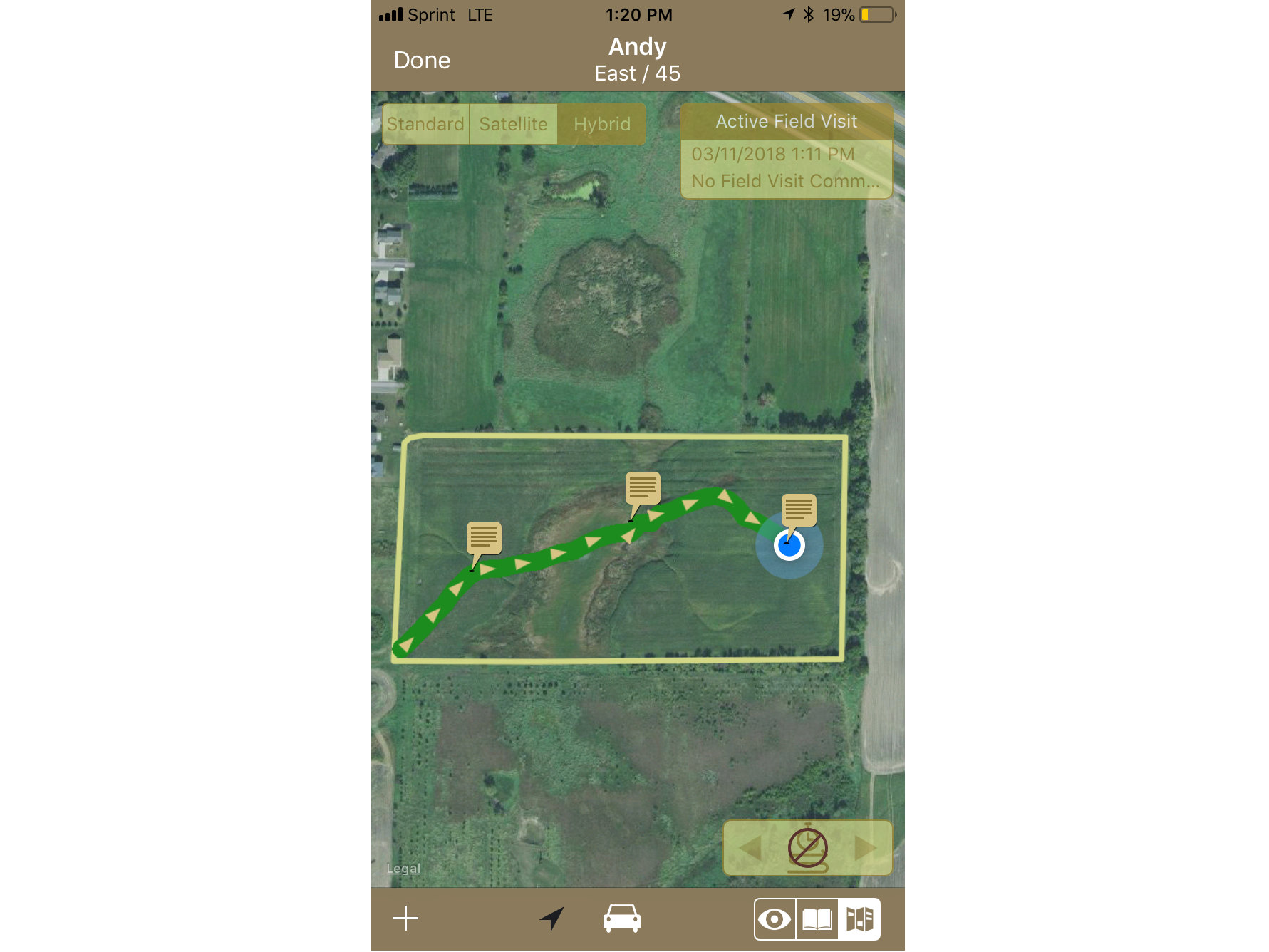 Tracking Path Through Field GeoNotes on iPhone