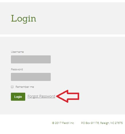 FieldVault Forgot Password Link