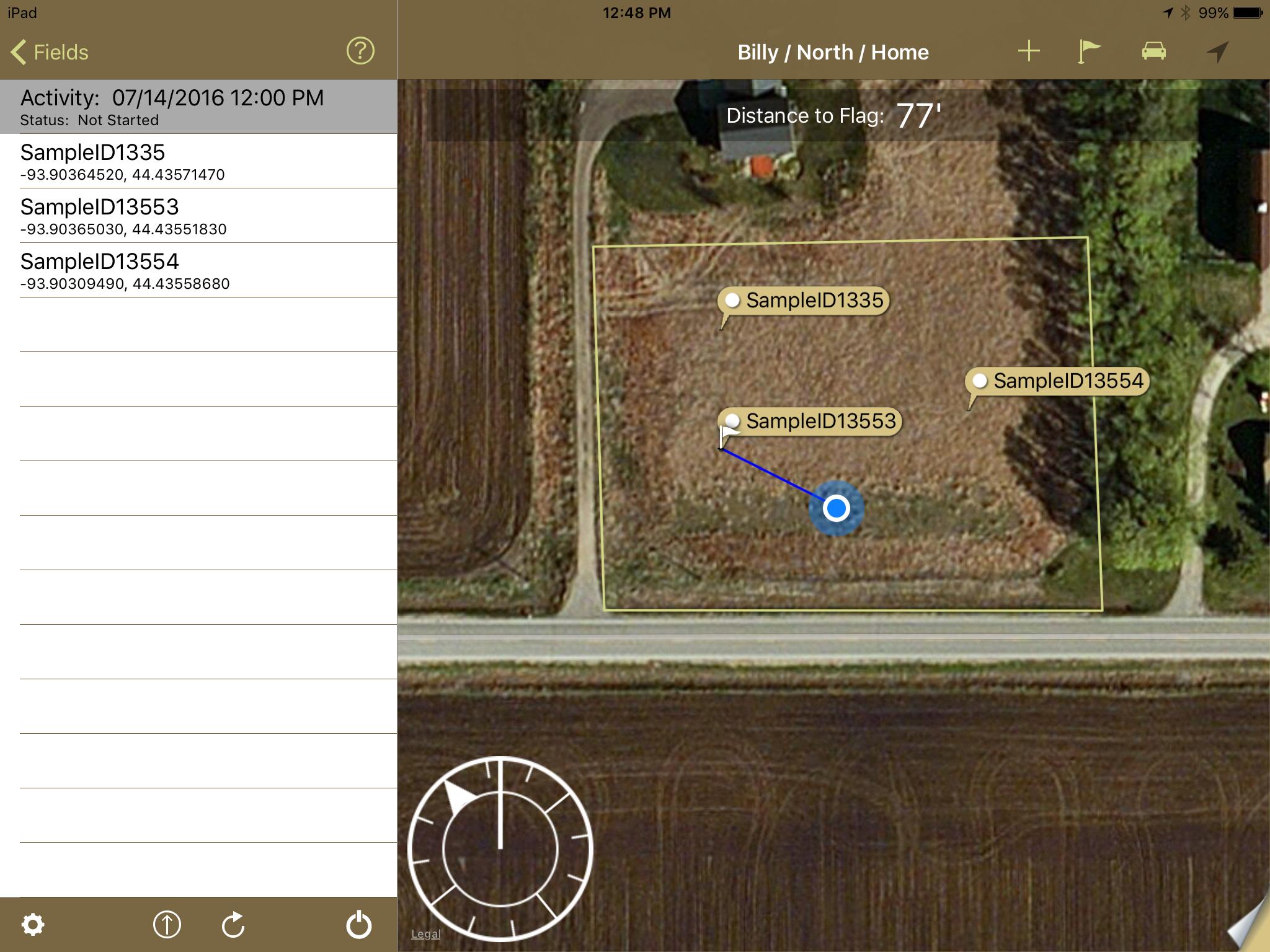 Sampling app navigation dial on iPad